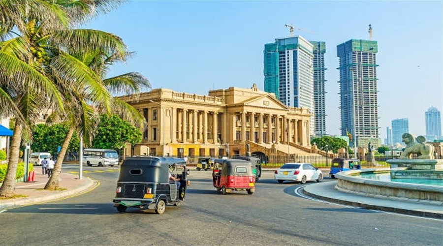 The palace of Presidential Secretariat Office located opposite the scenic Lion fountain on Galle Main Road, stretching along the coast, Colombo, Sri Lanka.